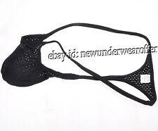 Men's Swim Micro Thong Eyelet Quick Dry G-string Underwear Black T-back Size XL