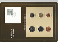Coin Sets of All Nations St. Helena w/card 1984 UNC 1 Pound 50,10,5,2,1 Pence