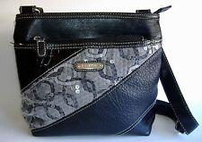 Black Rosetti Shoulder Hand Bag Sequin Faux Leather Purse Tote Zipper Pockets