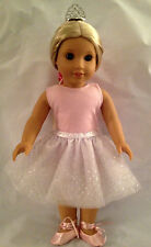 For American Girl Doll Clothes DANCE COSTUME Pink White Sparkle Isabelle Ballet