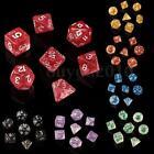 7PCS TRPG Game Dungeons & Dragons Glitter D4-D20 Multi Sides Dice Pink