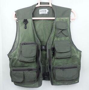 Men's Summer Fishing Mesh Vest Photography Clothing OLIVE COLOR Size L