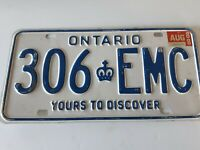 VTG Ontario License Plate 306 EMC AUG 88 Canada Crown Yours To Discover