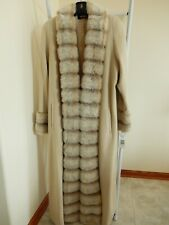 New Alorna Wool Beige Coat with Faux Fur Collar and Cuffs Size 12