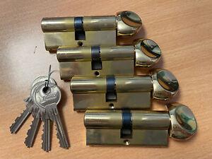 4 x 70mm TIGRIS euro thumb turn cylinder door lock barrels, keyed-alike group