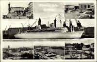 """Göteborg Schweden AK 1954 Götaplatsen Hamnen Hafen Schiff Dampfer """"Kungsholm"""""""