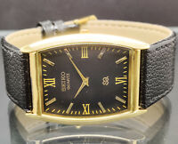 Seiko quartz super slim men's gold plated black dial japan made watch run order