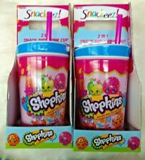 2 Snackeez SHOPKINS 2-in-1 Snack and Drink Cup Tumbler with Straw, age 3+ *NEW
