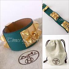 RARE NEW Hermes Collier de Chien CDC MEDOR Gold GHW Malachite Leather Bracelet