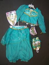 NWT Disney Store 9-10 Aladdin Jasmine Harem Girl Costume Tiara Jewelry & Shoes