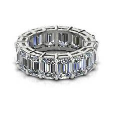 7.36 Ct Emerald Cut Diamond Engagement Eternity Band 14K White Gold Ring Size 4