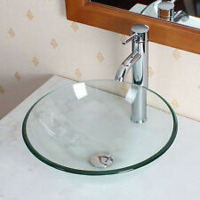 Bathroom Glass Vessel Sink Chrome Faucet & Pop-up Drain Set Tempered Clear Round
