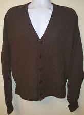 Vintage men's 50's 60's Lord Jeff 100% Alpaca BROWN cardigan L Mr. Rogers