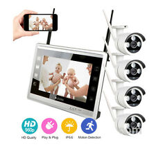 """12""""LCD Monitor 4CH WIFI Wireless 960P CCTV Camera Security System NVR Outdoor"""