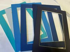 Picture Frame Mat 5x7 for Postcard 3 3/8 x 5 3/8 Blues assortment set of 6