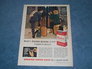"1960 Winston Cigarettes Vintage Ad ""Filter-Blend Up Front is Packed for Pleasure"