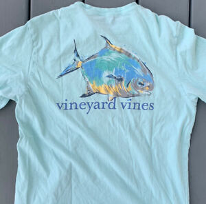 VINEYARD VINES Men's S Fish Graphic Tee Light Blue T-Shirt Whale