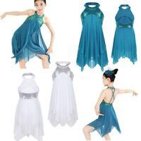 Kids Girls Halter Sequin Lyrical Ballroom Leotard Dress Ballet Dancewear Costume