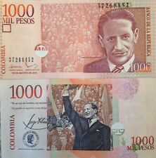 COLOMBIA 2015 1000 PESOS UNCIRCULATED NOTE P-456 JORGE GAITAN FROM A USA SELLER