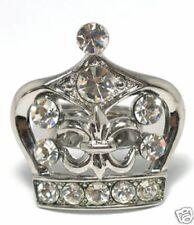White Swarovski Crystal Crown Silver Tone Ring