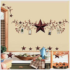 COUNTRY BERRIES and STARS wall stickers rustic folk decals room decor