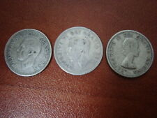 Canada 10 Cents 1949 1951 1953 , King George , Queen Elizabeth , 3 Silver coins
