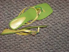 womens ann marino yellow & green sqaure toe beaded mini wedge heels shoes 9