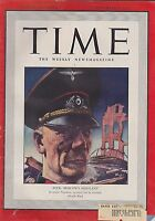 DEC 8 1941 vintage TIME magazine GERMAN COMMANDER  BOCK attacks moscow