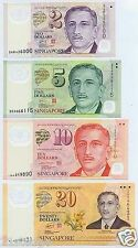 Singapore Portrait Polymer Currency Note Set (4 Pcs)