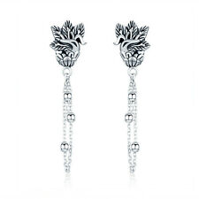 Vingate Style 925 Sterling Silver Peacock Charm Tassels Long Dangle Earrings