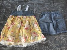 New AG Artistry Handmade 2 Pc Girls Shorts Outfit Gray Chambray & Yellow  Sz 6/7