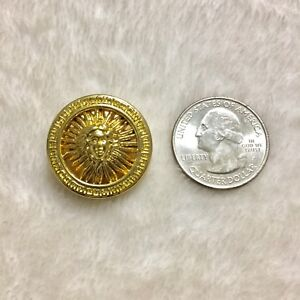 "One (1) Versace Medusa Head Shiny Gold Plastic Button .993"" (25.23 mm)"