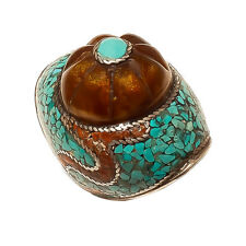Vintage 925 Sterling Silver Turquoise Mosaic Beautiful Ring India Jewellery