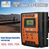 12/24V 30/50/70A MPPT Controlador Carga Solar Panel Batería Regulador Dual USB,