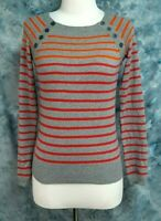 Sparrow Womens XS Gray Red Orange Striped Boat Neck Pullover Thin Sweater Top