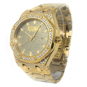 Full Stainless Steel Yellow BlingMaster Simulated Lab Diamond Wrist Watch Men's