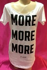 """(L)VICTORIA'S SECRET SLEEP TEE SHIRT """"MORE MORE MORE"""" BLACK AND WHITE LARGE"""
