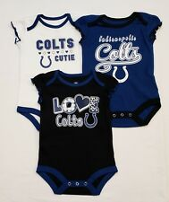 Indianapolis Colts Girls Infant 3 piece creeper set    12 Months   Set of 3 NWT