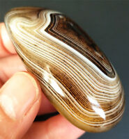 TOP 74G Natural Polished Silk Banded Lace Agate Crystal Madagascar B6