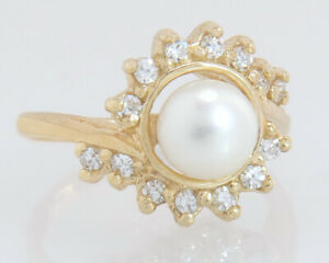 Estate 14K Yellow Gold .28ct Genuine Diamond & Pearl Children's Ring Size 3.5