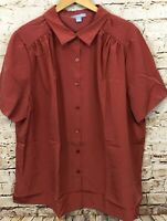 Only Necessities button blouse top NEW women 2X dark salmon pink short sleeve K3