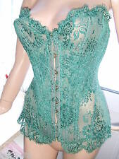 AGENT PROVOCATEUR SOIREE GREEN GARDINIA CORSET & THONG SIZE 4 LARGE UK12-14 BNWT