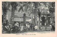 Africa postcard Arzew Arzeu Algeria Place d'Isly un jour de fete outdoor cafe