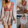 Mode Femme Mini Robe Plage Manche Longue Imprimé Floral Col V Haut Courte Plus