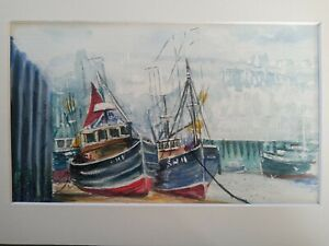 SUPER LITTLE WATERCOLOUR FISHING BOATS WHITBY