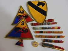 WWII 101 US Army 1st Cavalry Division Patch, Hell on Wheels, Ribbons & Lapel Pin