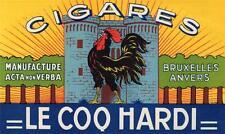 ORIGINAL VINTAGE CIGAR BOX TOP LABEL - CIGARES LE COQ HARDI