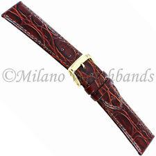 20mm Speidel Crocodile Grain Brown Genuine Leather Padded Watch Band w/ Defect