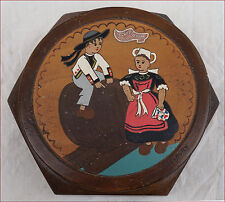 Vintage Breton Child Pyrography Wooden Trinket Candy Box Quimper