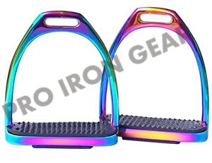 5 INCH RAINBOW GLOSS Fillis IRONS STIRRUPS HORSE RIDING STAINLES STEEL 4.75 INCH